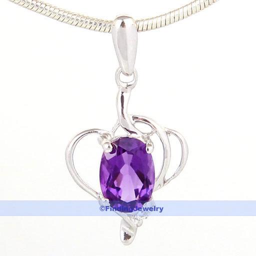 Genuine-Purple-Amethyst-Pendant-925-Sterling-Silver-Chain-Free-99-7-SATISFIED