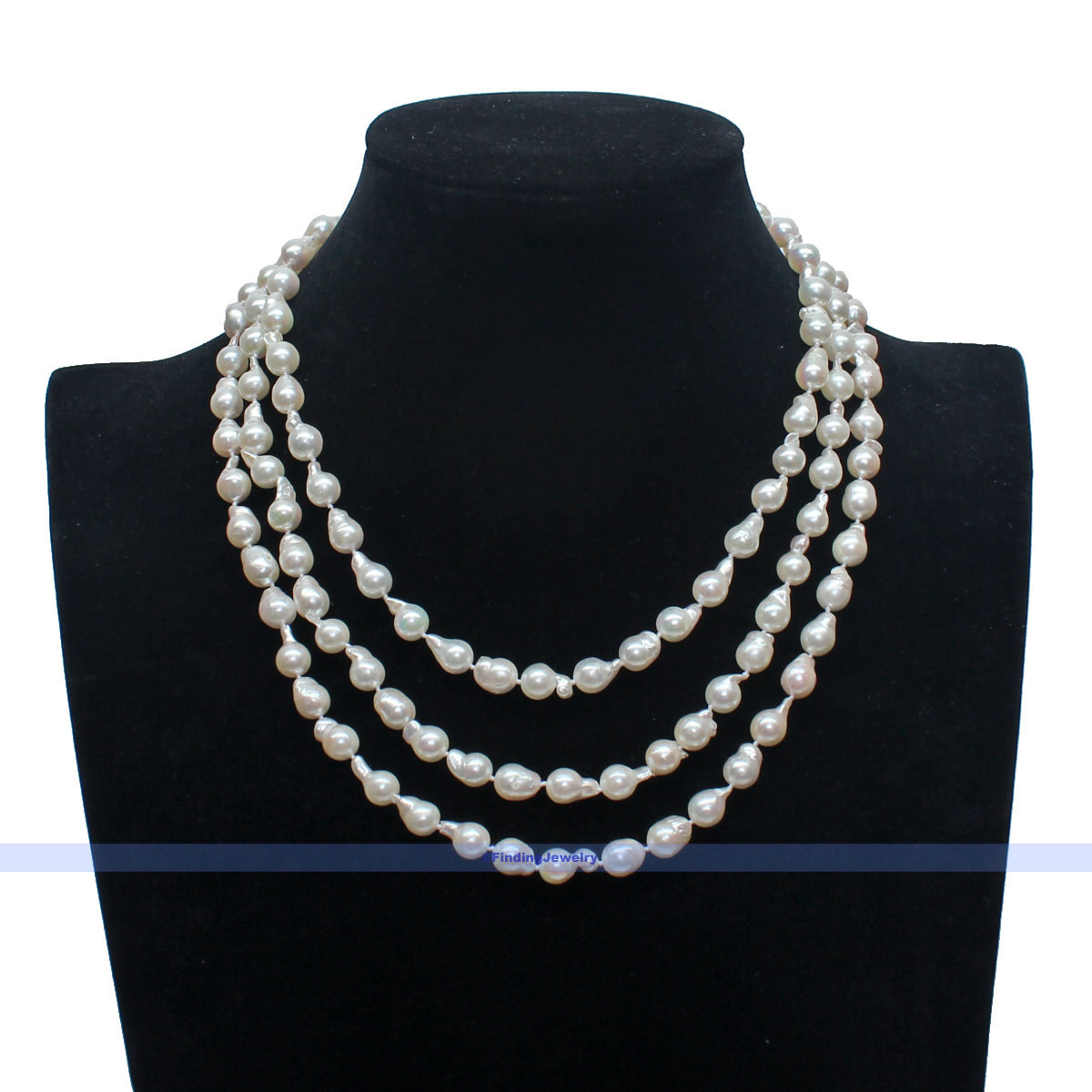 Natural Saltwater Pearl Necklace: New 3 Strands Natural White Saltwater Akoya Keshi Pearl
