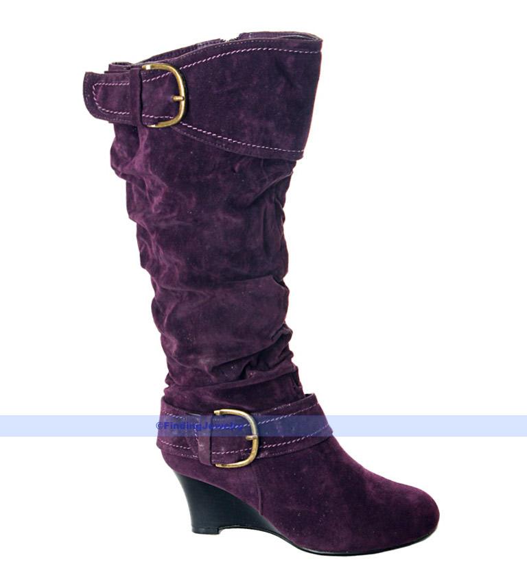 s purple faux suede mid heel knee high zip boots uk