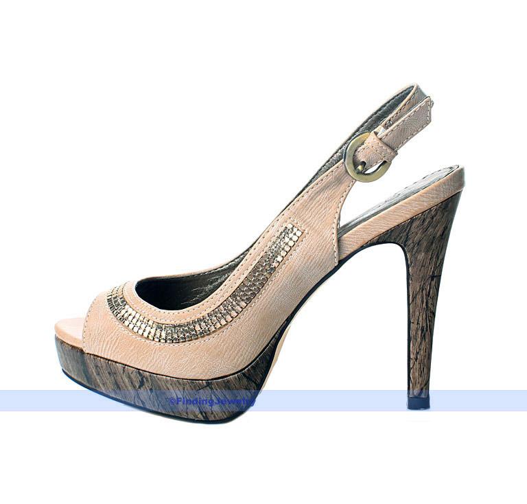 beige pumps platform high heel open toe slingback shoes