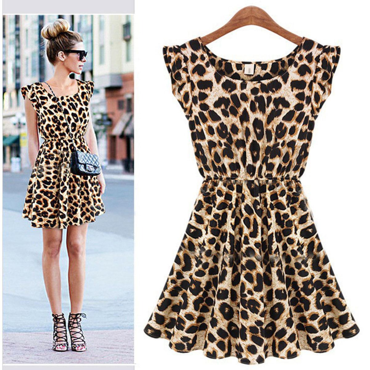 Леопардовое короткое платье